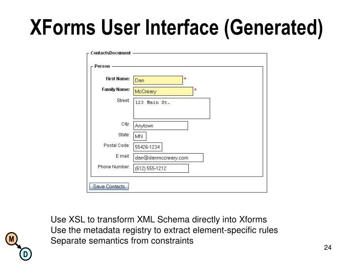 XForms User Interface (Generated)