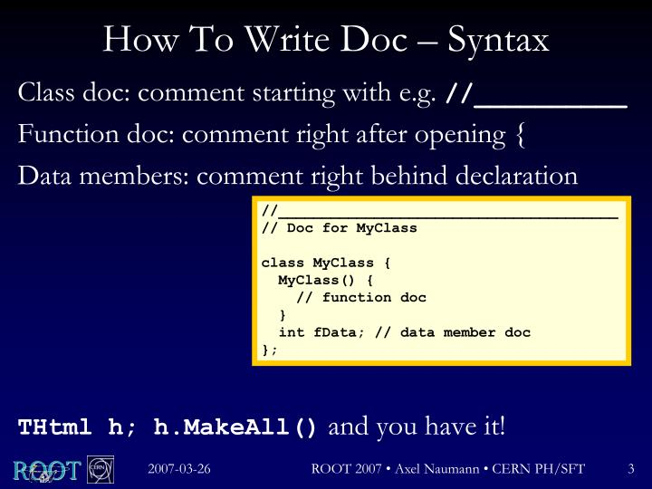 How to write doc syntax
