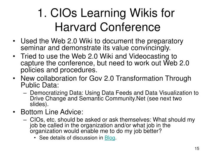 1. CIOs Learning Wikis for