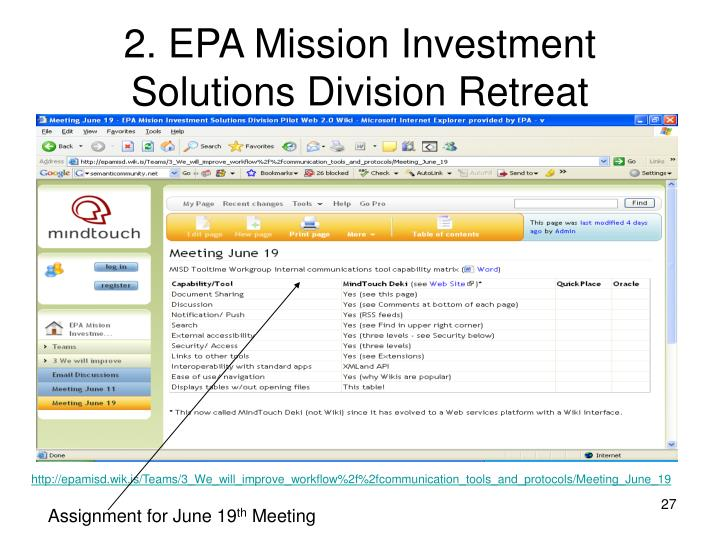 2. EPA Mission Investment Solutions Division Retreat