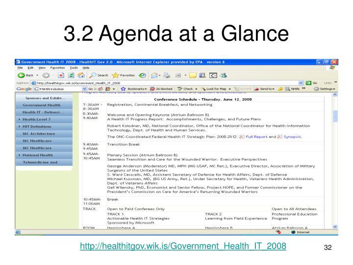 3.2 Agenda at a Glance
