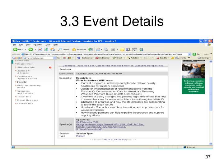 3.3 Event Details