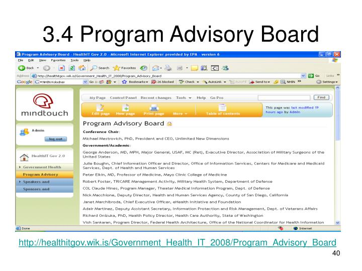3.4 Program Advisory Board
