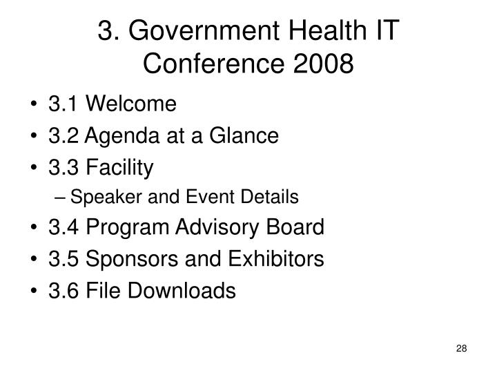 3. Government Health IT Conference 2008