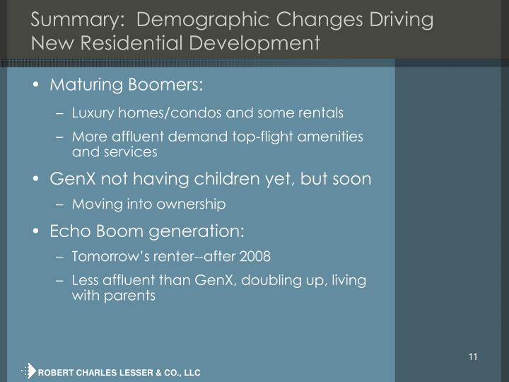 Summary:  Demographic Changes Driving New Residential Development