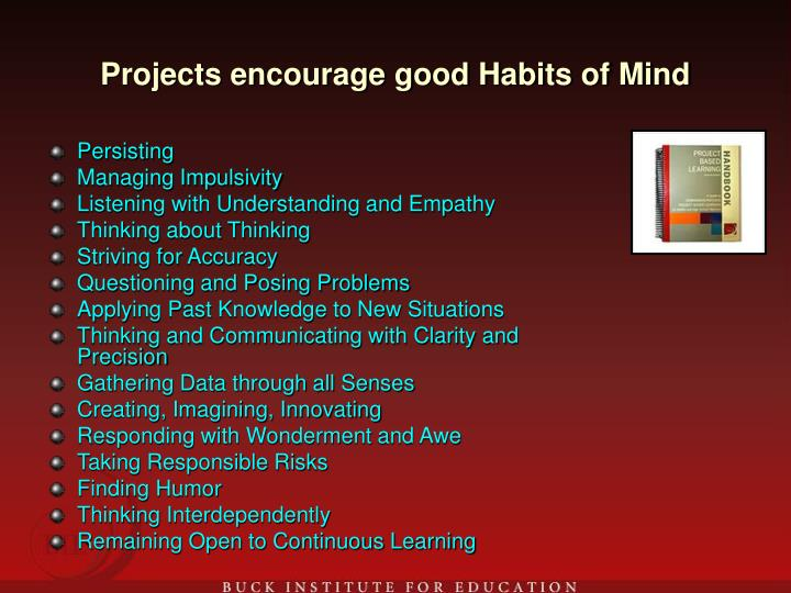 Projects encourage good Habits of Mind
