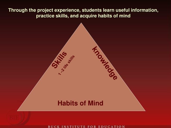Through the project experience, students learn useful information, practice skills, and acquire habits of mind