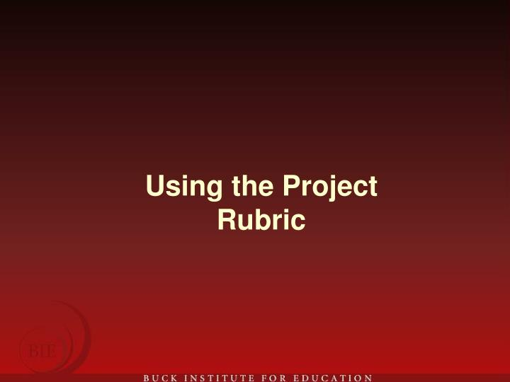 Using the Project Rubric