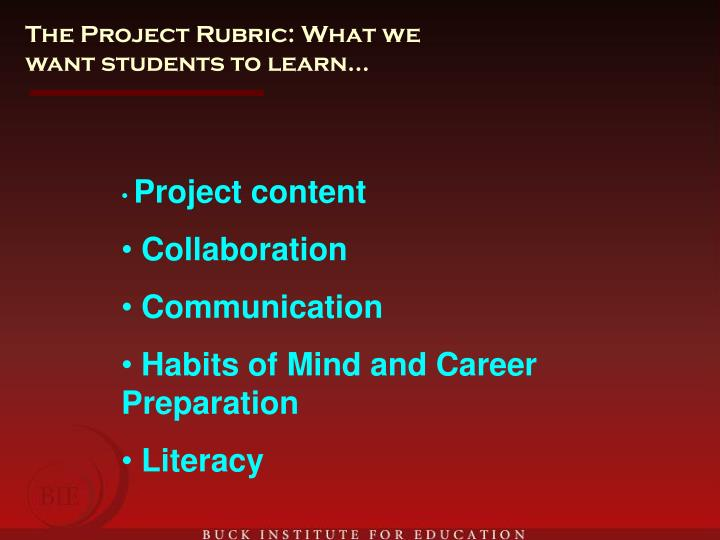 The Project Rubric: What we want students to learn…