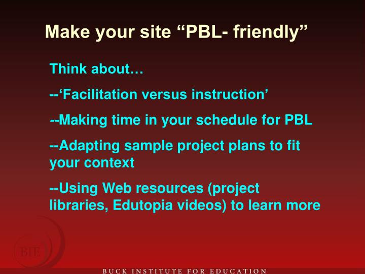 "Make your site ""PBL- friendly"""