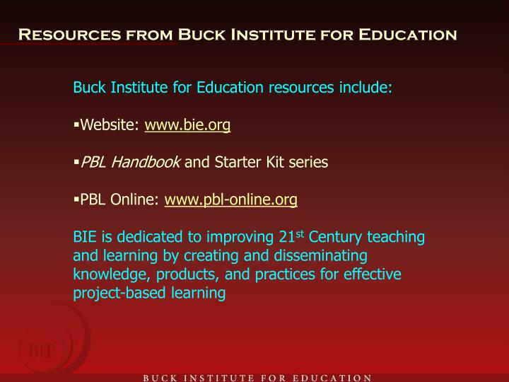 Resources from Buck Institute for Education