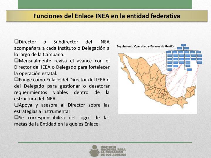 Funciones del Enlace INEA en la entidad federativa