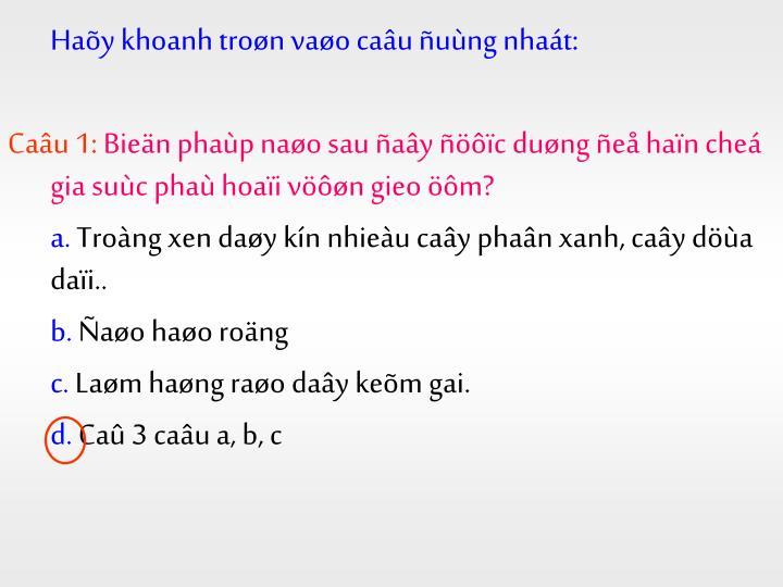 Haõy khoanh troøn vaøo caâu ñuùng nhaát: