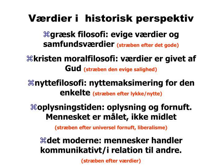 Værdier i  historisk perspektiv