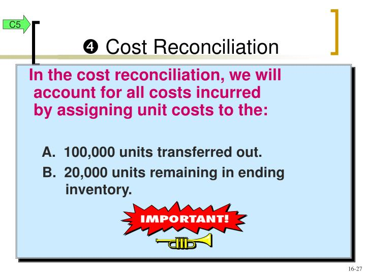 In the cost reconciliation, we will