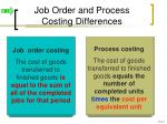 job order and process costing differences
