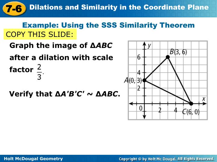 Example: Using the SSS Similarity Theorem