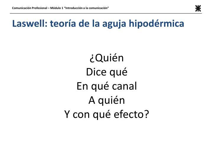 Laswell: teoría de la aguja hipodérmica
