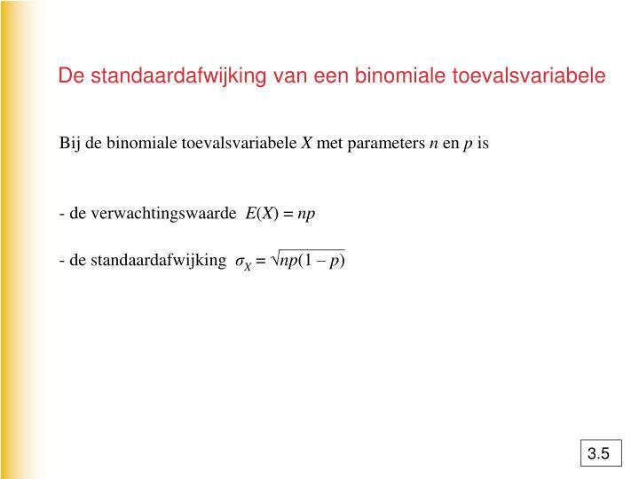 De standaardafwijking van een binomiale toevalsvariabele