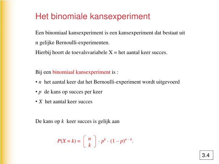Het binomiale kansexperiment