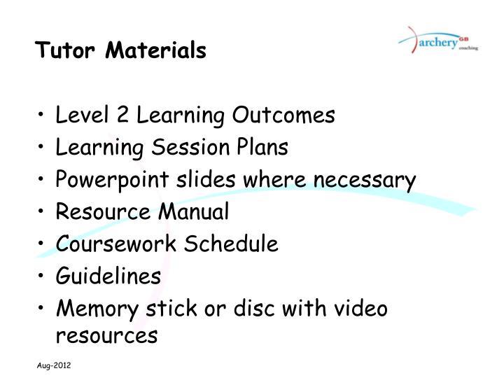 Tutor Materials