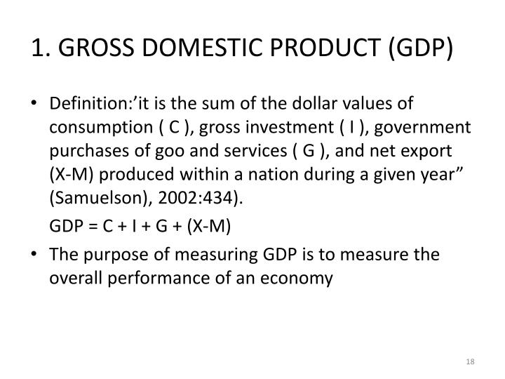1. GROSS DOMESTIC PRODUCT (GDP)
