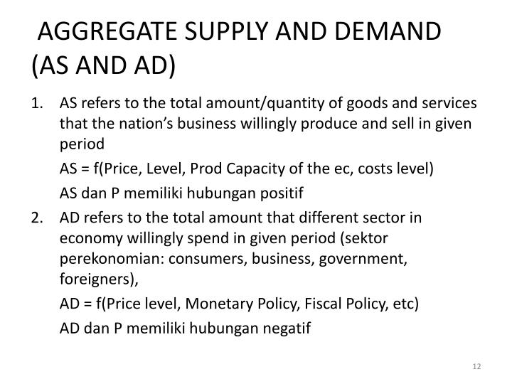 AGGREGATE SUPPLY AND DEMAND