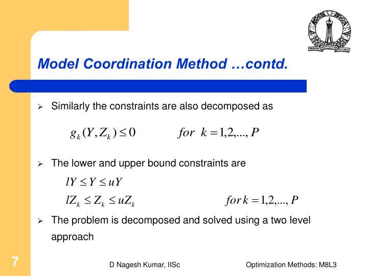 Model Coordination Method …contd.