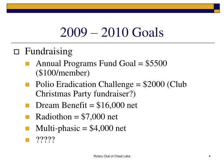 2009 – 2010 Goals