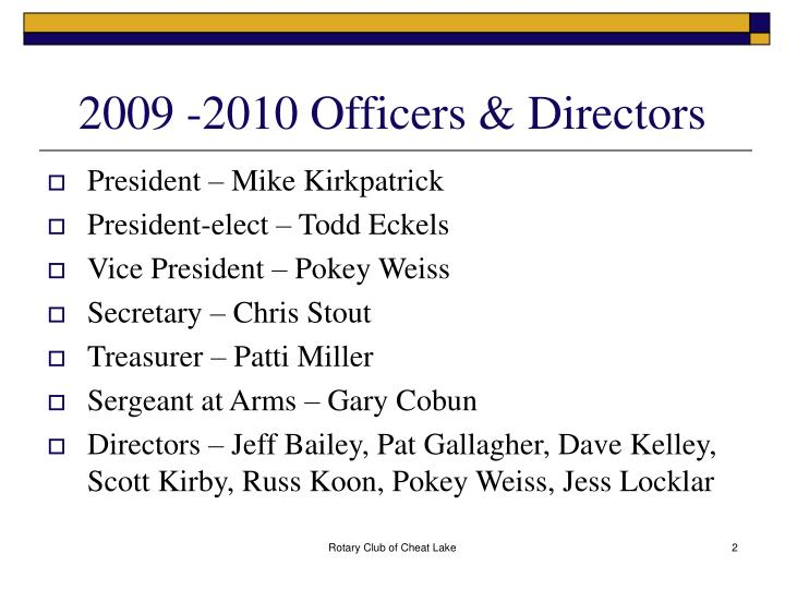 2009 -2010 Officers & Directors