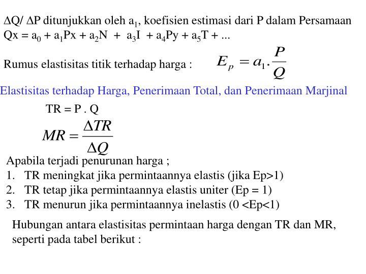 Q/ P ditunjukkan oleh a