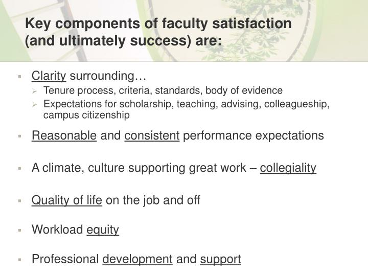 Key components of faculty satisfaction