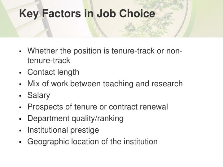 Key Factors in Job Choice