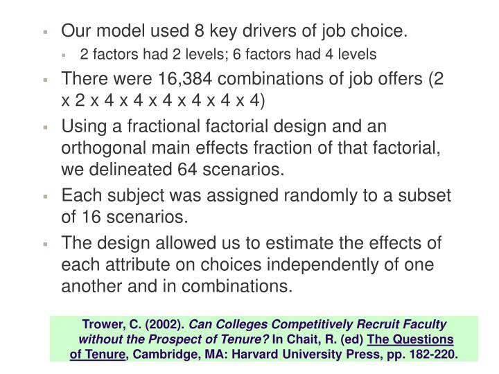 Our model used 8 key drivers of job choice.