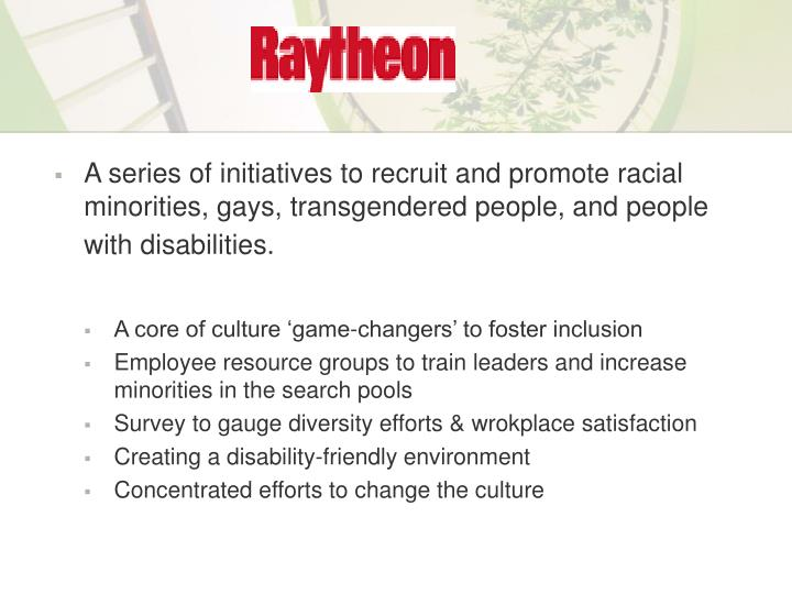 A series of initiatives to recruit and promote racial minorities, gays, transgendered people, and people with disabilities.
