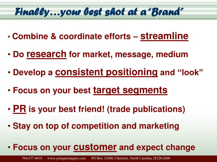 """Finally…your best shot at a """"Brand"""""""
