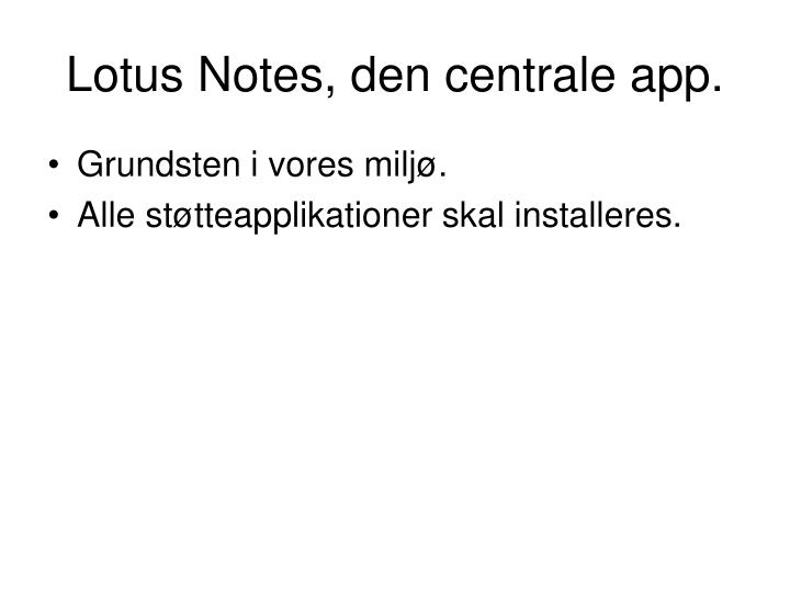 Lotus Notes, den centrale app.