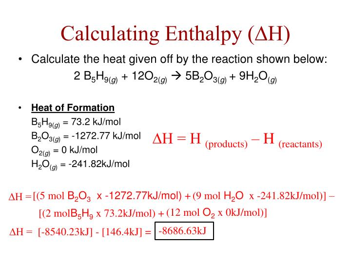 Calculating Enthalpy (∆H)