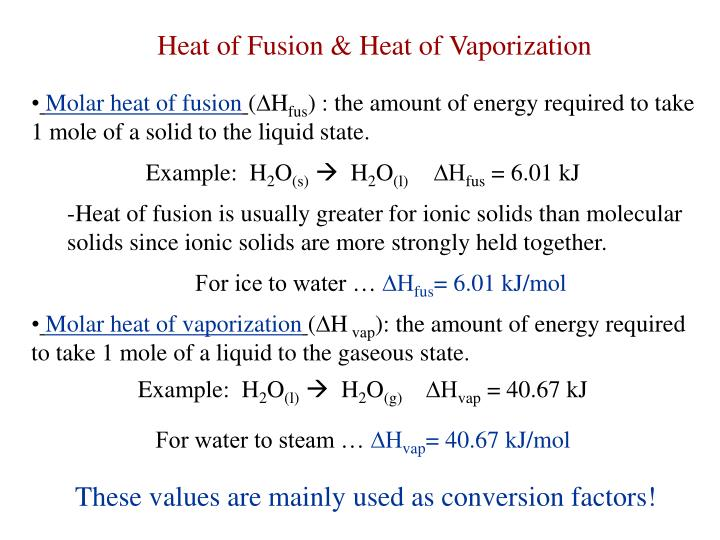 Heat of Fusion & Heat of Vaporization