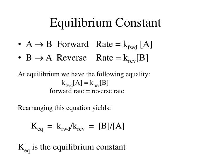 At equilibrium we have the following equality: