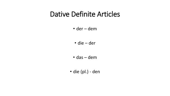 Dative Definite Articles