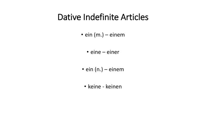 Dative Indefinite Articles