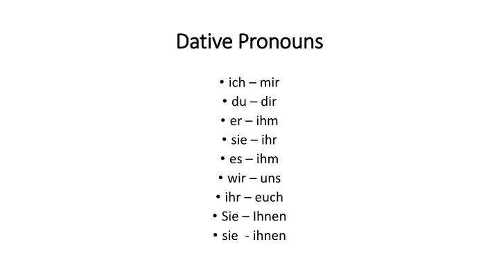 Dative Pronouns