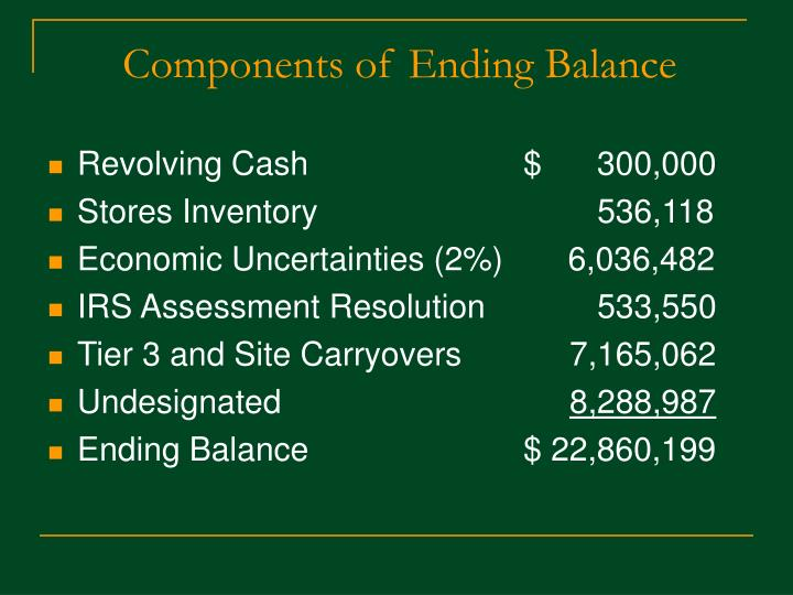 Components of Ending Balance