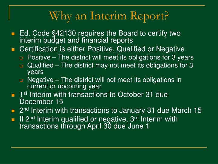 Why an interim report