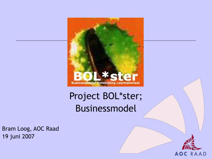 Project bol ster businessmodel
