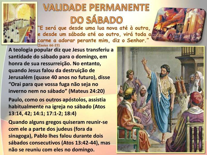 VALIDADE PERMANENTE DO SÁBADO