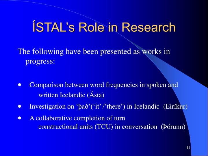 ÍSTAL's Role in Research
