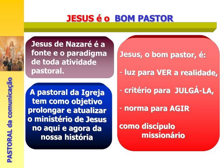 A pastoral da Igreja tem como objetivo prolongar e atualizar o ministério de Jesus no aqui e agora da nossa história