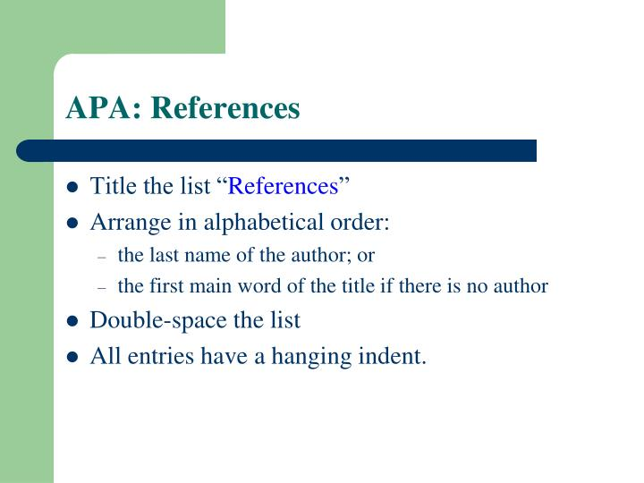 APA: References